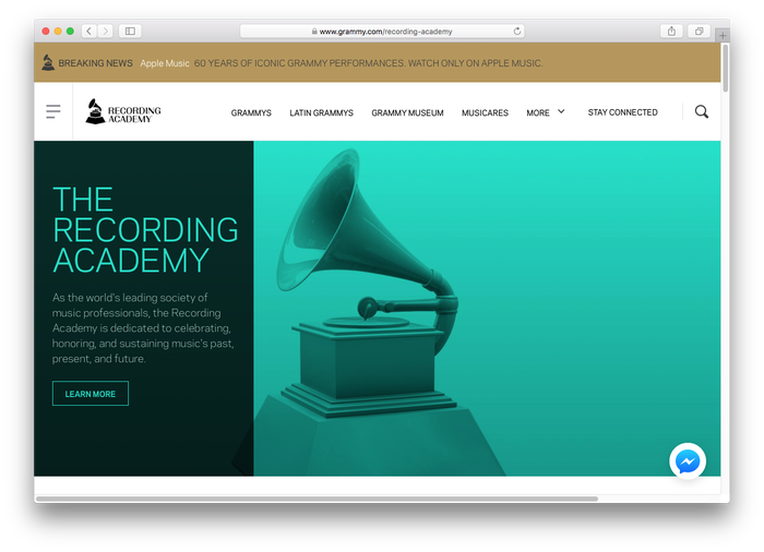 The text typeface used on the grammy.com website is Galaxie Polaris.