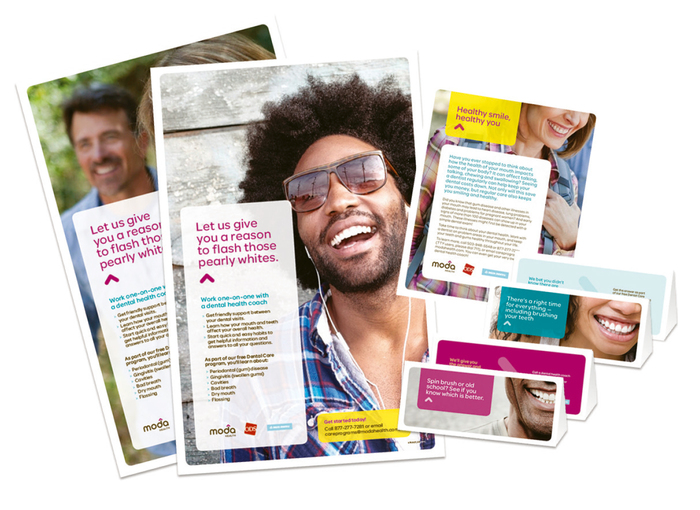 Promotional posters, flyers and table tents from a campaign for dental wellness.