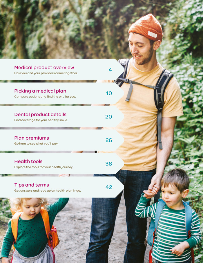 Table of contents page from a health plan brochure.