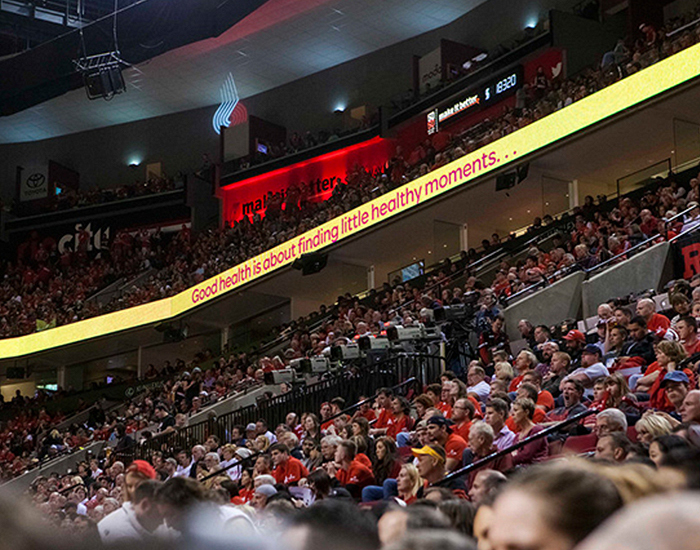 Video display ad with animated Omnes shown during a match at the Moda Center, Portland, OR. Design by Aubree Swalko.