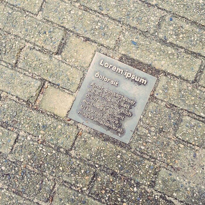 """""""Lorem ipsum"""" plaque, Amsterdam"""