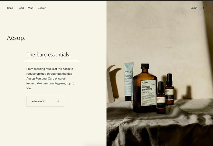 Aēsop logo, website and packaging 3