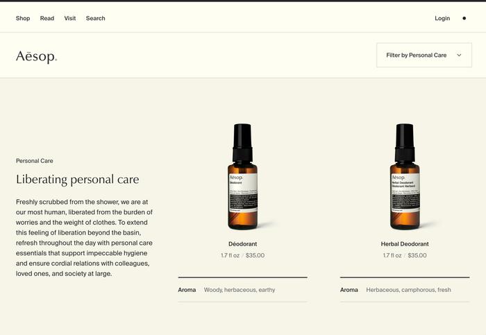 Aēsop logo, website and packaging 4