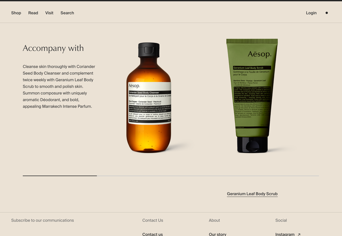 Aēsop logo, website and packaging 2
