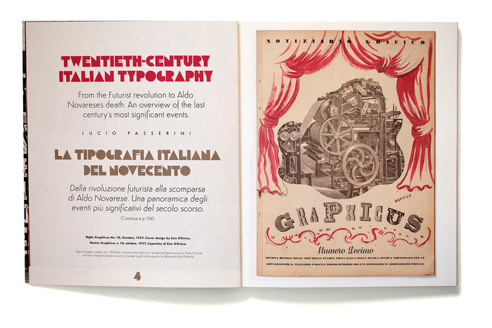 Titles and page numbers set in TIF Balilla. Summary and captions in Semplicità [digital revival by Studio Di Lena]