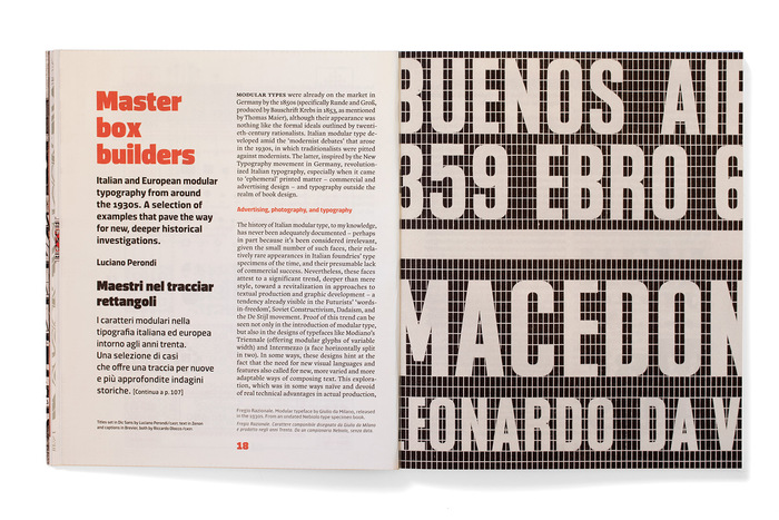 Titles set in Dic Sans by Luciano Perondi/CAST; text in Zenon and captions in Brevier, both by Riccardo Olocco/CAST