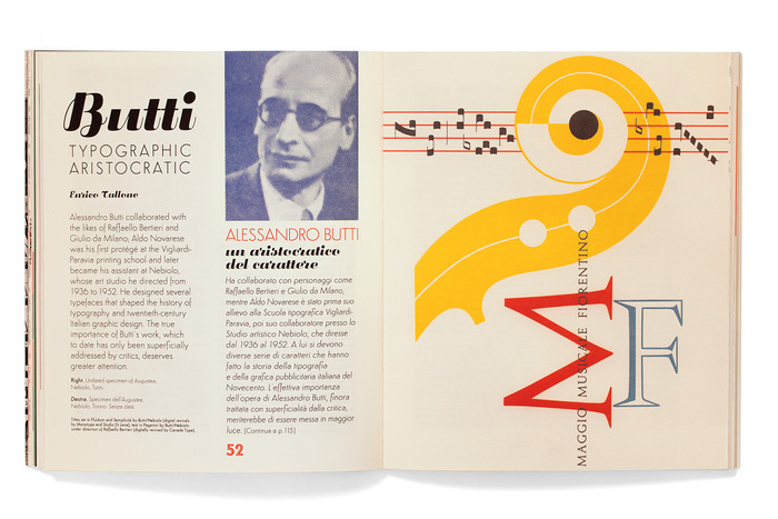 Titles set in Fluidum and Semplicità by Butti/Nebiolo [digital revivals by Monotype and Studio Di Lena]; text in Paganini by Butti/Nebiolo under direction of Raffaello Bertieri [digitally revived by Canada Type]