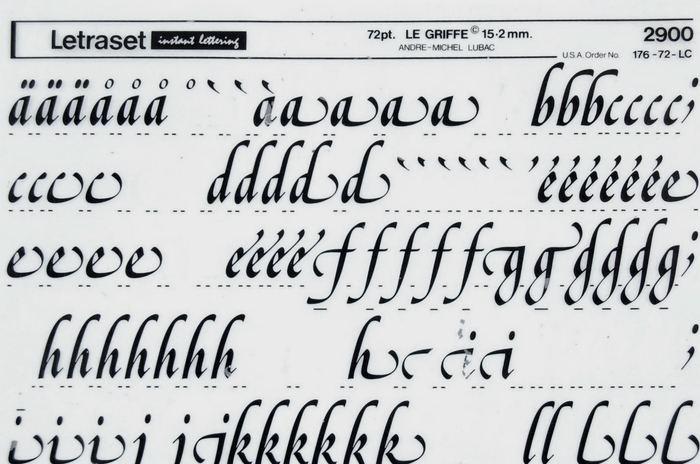 A partly used Letraset sheet with glyphs from Le Griffe in 72pt.