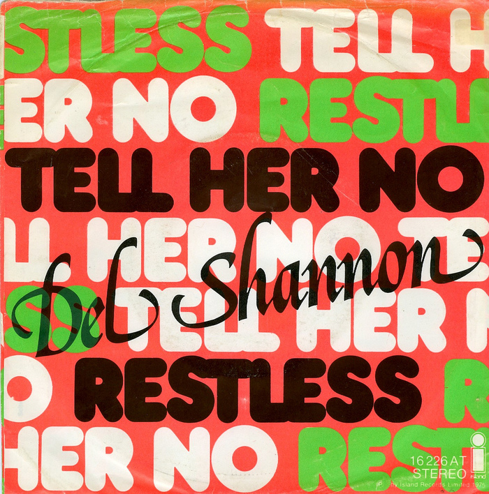 """Del Shannon – """"Tell Her No"""" / """"Restless"""" German single cover 1"""