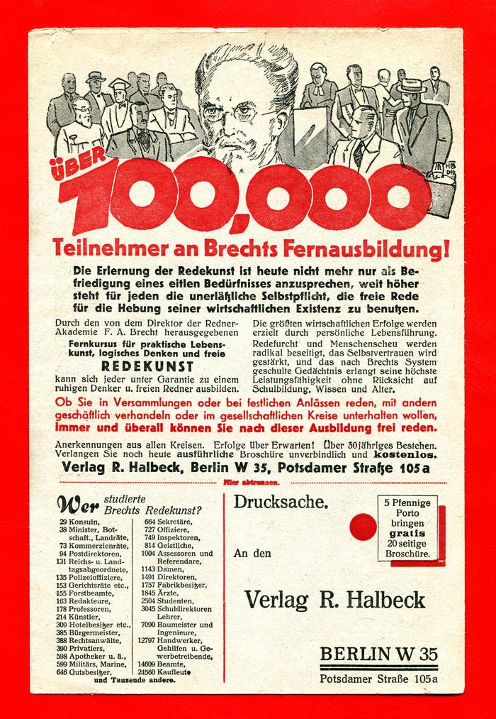 Verlag R. Halbeck ad for rhetoric courses 2