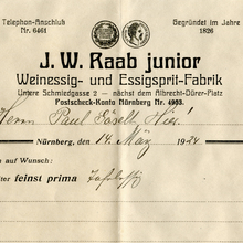 J.W. Raab junior invoice, 1924
