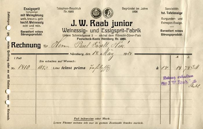 J.W. Raab junior invoice, 1924 1