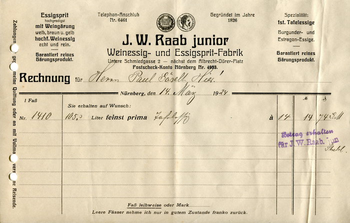 J.W. Raab junior invoice, 1924 1