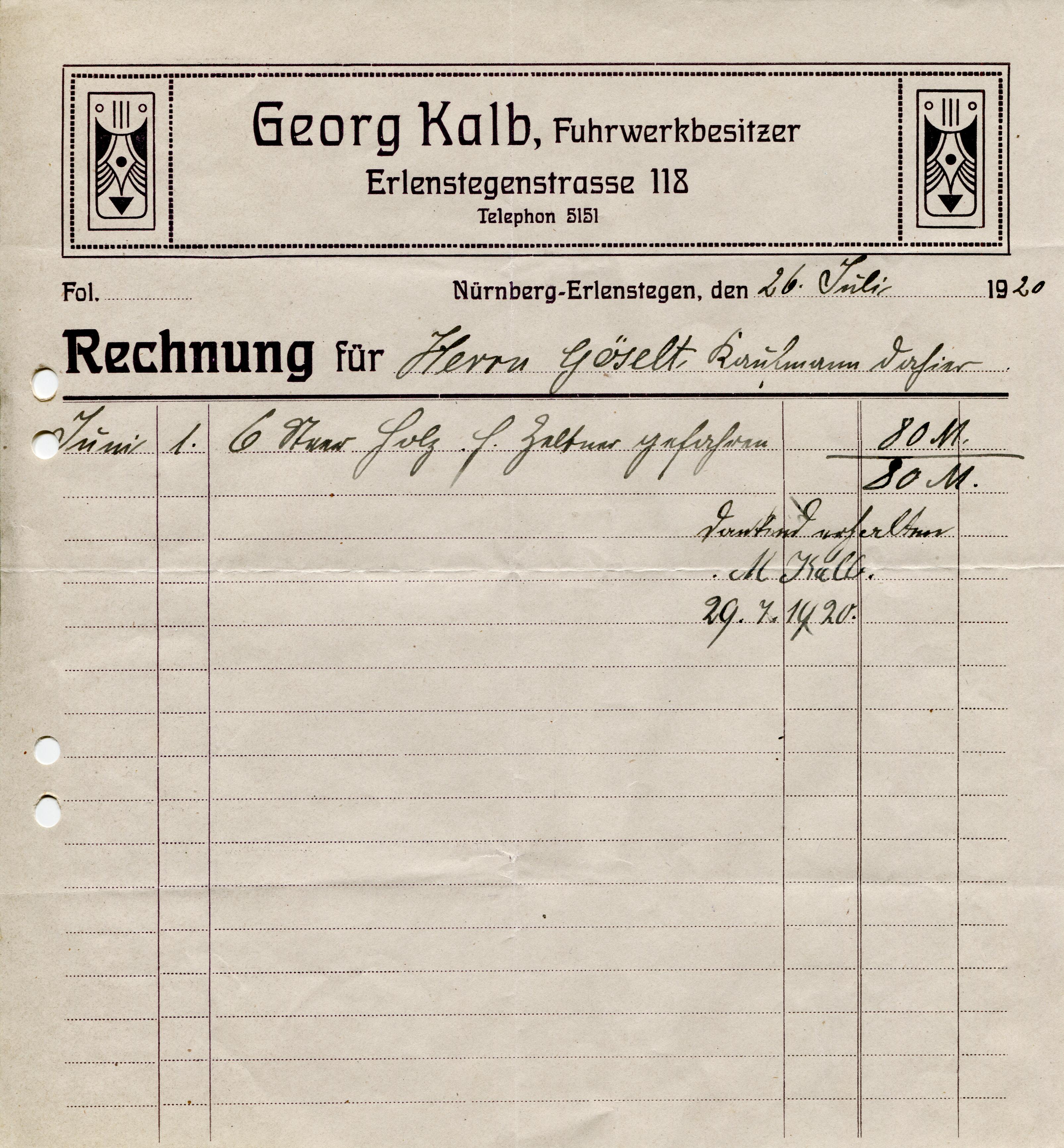 Georg Kalb Fuhrwerkbesitzer invoice, 1920 - Fonts In Use