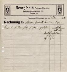 Georg Kalb Fuhrwerkbesitzer invoice, 1920