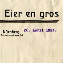 Leonhard Lehnerer invoice, 1924