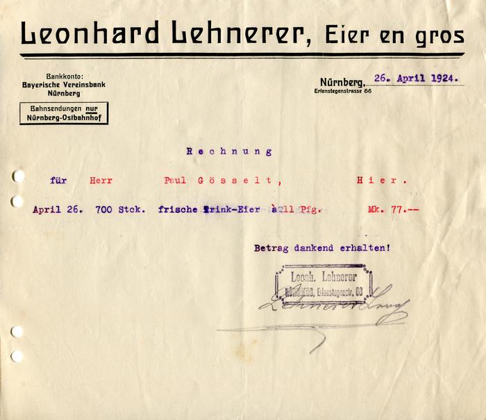 Leonhard Lehnerer invoice, 1924 1
