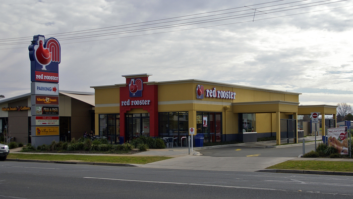 This photo of a Red Rooster restaurant in Wagga Wagga was taken in 2009. It still shows the old rooster.
