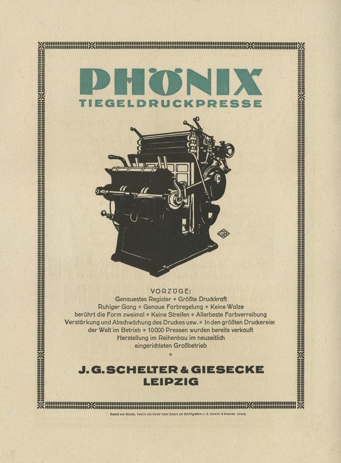 """""""Phönix Tiegeldruckpresse"""" ad by J.G.Schelter & Giesecke, 1924"""