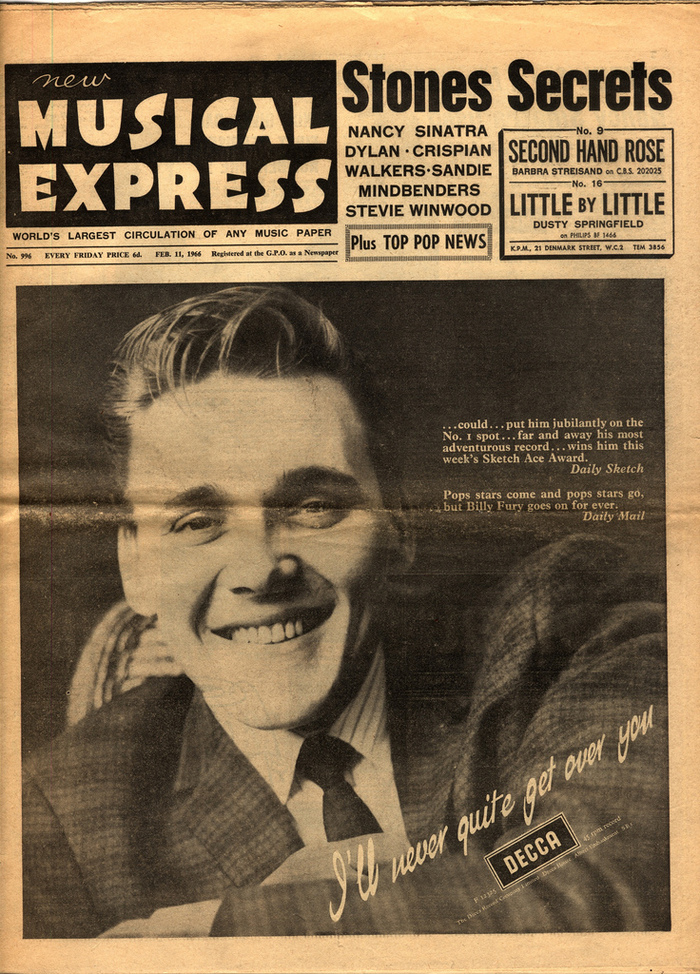 No. 996, February 11, 1966, featuring Billy Fury and a redrawn version of the logo. Unlike before, 'P' and 'R' here aren't clipped at the top.