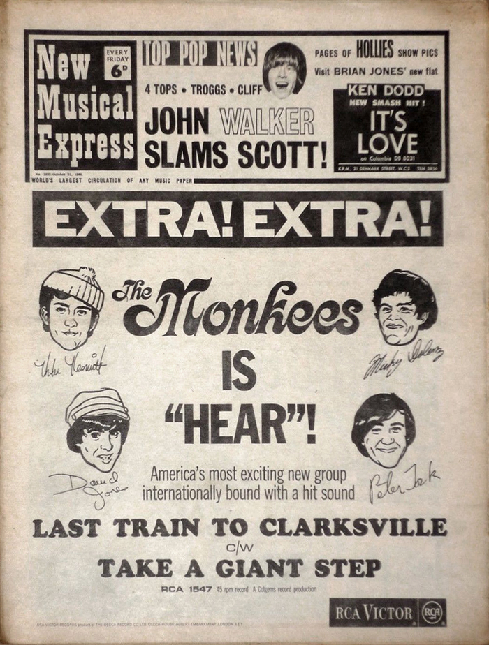 """The world's largest selling musical newspaper. Every Friday"". Magazine ad from 1959, featuring the New Musical Express logo as it was used from c. 1953 to 1966."