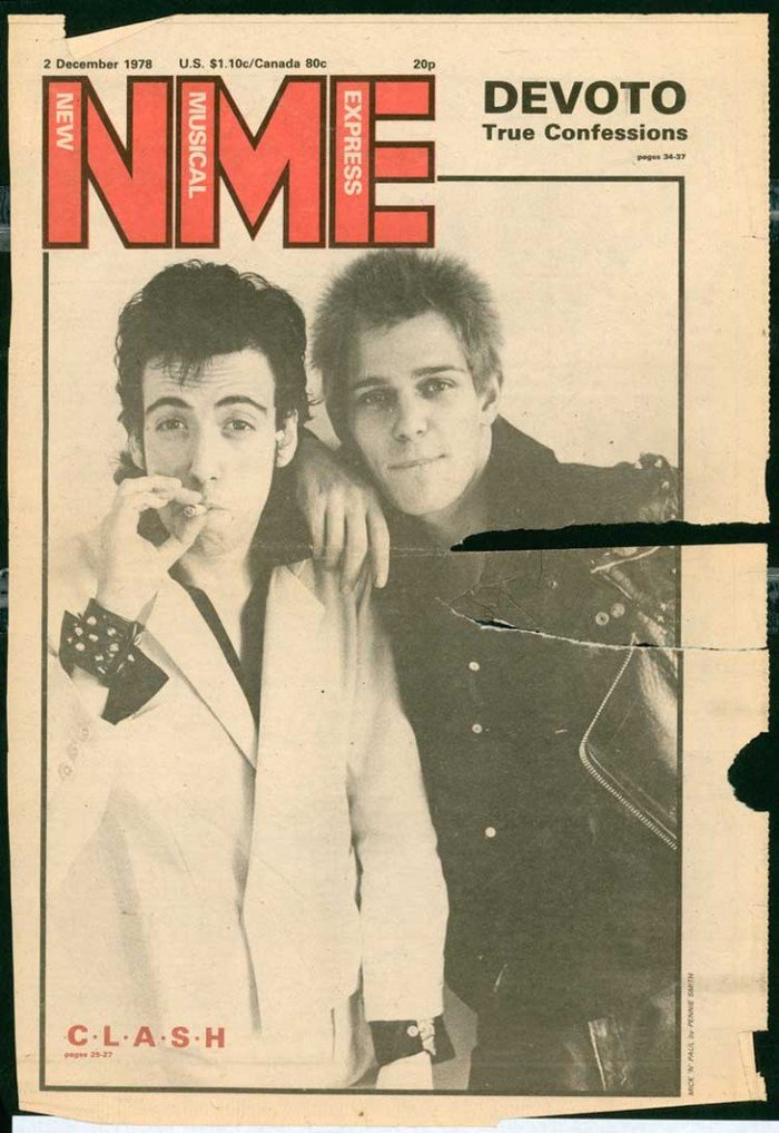 The issue from December 2, 1978 with The Clash on the cover was the first to feature the new NME logo designed by Barney Bubbles. Univers Bold is used for the full name within the initials and also for other copy.
