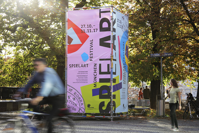 Banner box in the urban space