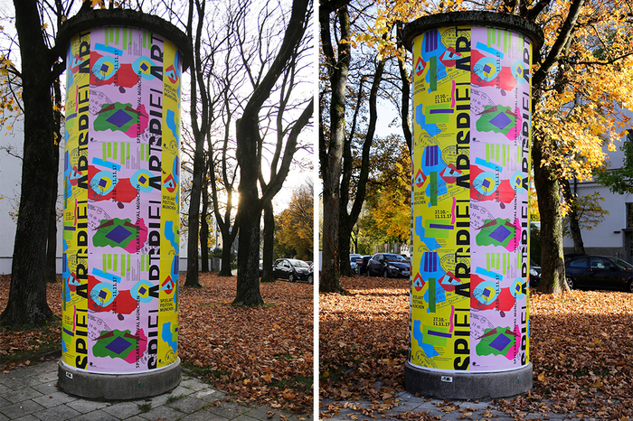 Advertising columns with posters