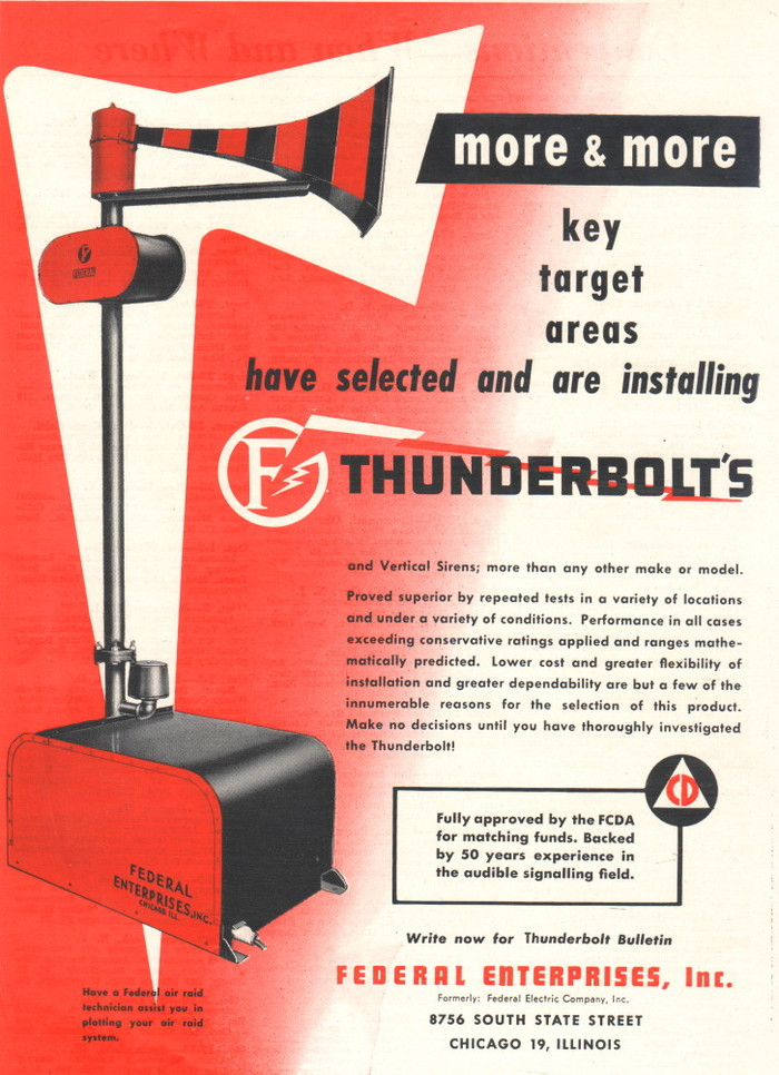 Thunderbolt air raid siren ad & decal 1