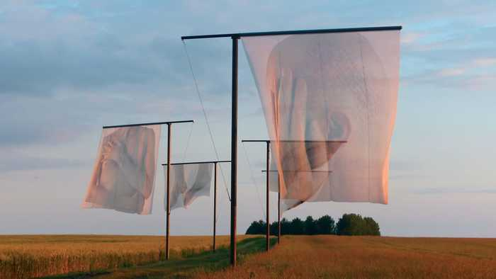 The Lost Men France, 2014, Thiepval Memorial to the Missing of the Somme, Northern France. Five (5 m × 5m) pigment-printed photographs on silk, steel. 200 metres. Photographed by Paul Emmanuel. Courtesy of Art Source South Africa.