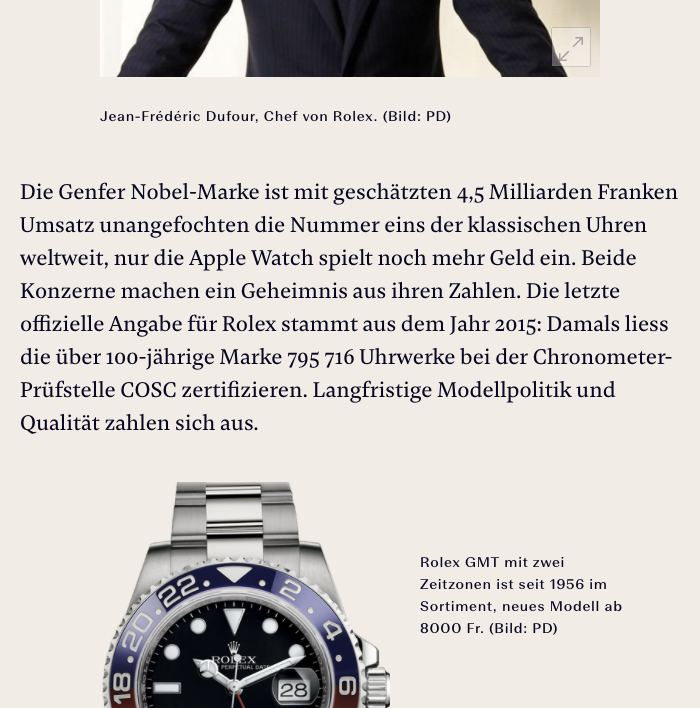 Damien Text comes with small caps, fractions and different sets of numerals. This number-heavy feature about Swiss watches shows the default old style figures.