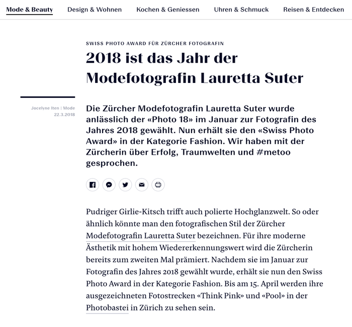 Article design featuring Beausite Grand Bold (headline), Beausite Fit Medium (lead), and Damien Text Regular (body text). Note the «Swiss-style» quotation marks.