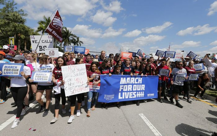 "Marjory Stoneman Douglas High School students take part in a ""March For Our Lives"" rally in Parkland, Fla."