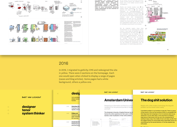 Portfolio booklet (top half , 2012) set in Helvetica, screenshots from 2016 website (lower half in yellow) featuring Neue Haas Grotesk.