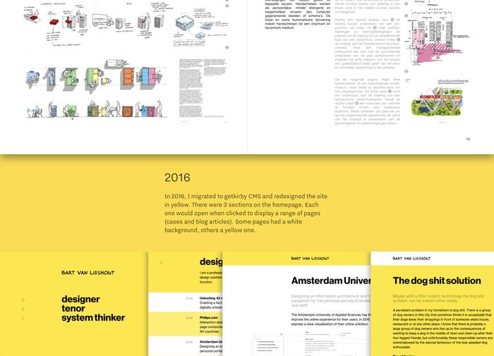 Portfolio booklet (top half , 2012) set in Helvetica, screenshots from 2016 website (lower half in yellow) featuring Neue Haas Grotesk.