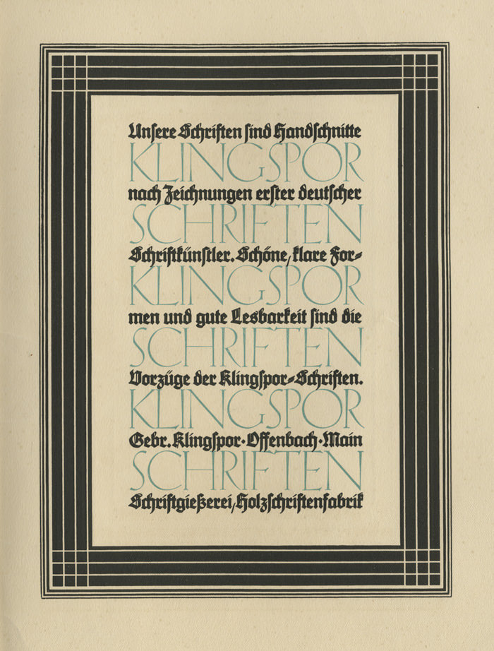"""Gebr. Klingspor: """"Klingspor Schriften"""" ad (1924)"""