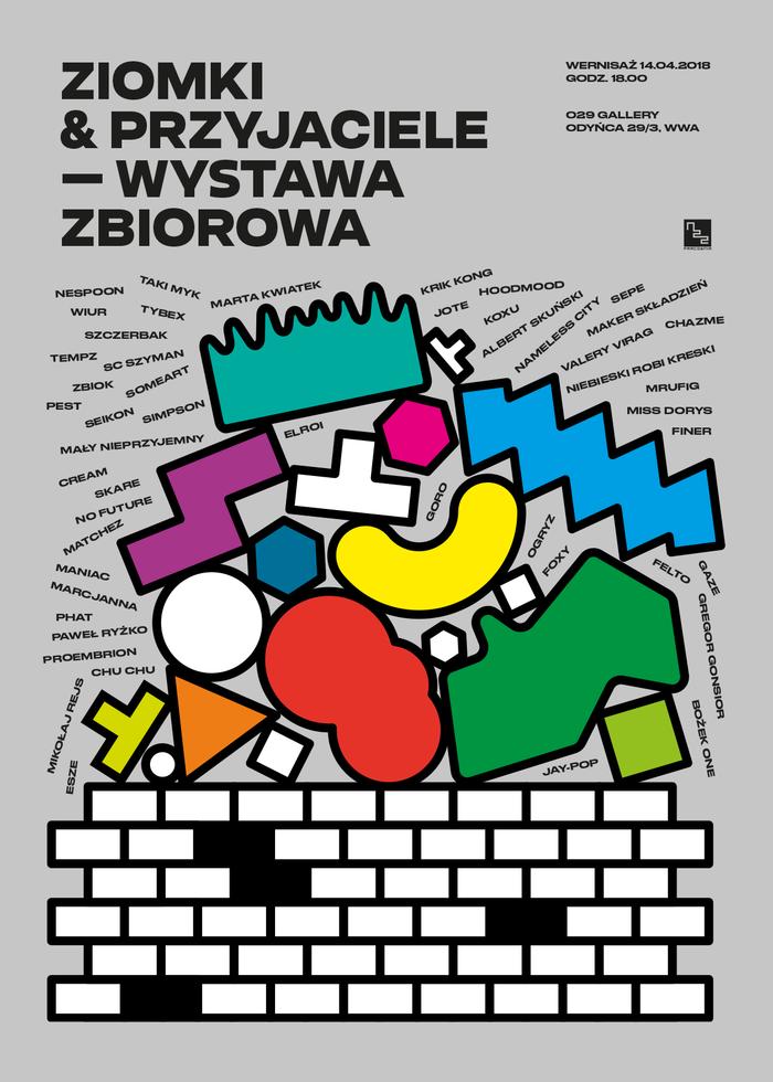 """Ziomki & Przyjaciele – Wystawa zbiorowa (""""Homies & Friends – Group exhibition""""). Poster"""