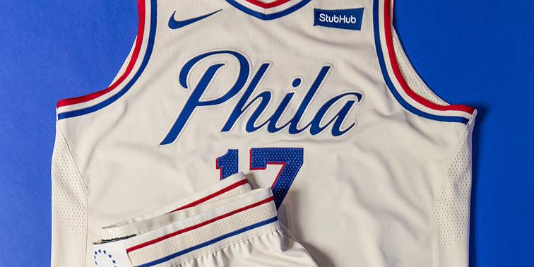 promo code e63c1 b0bf7 Philadelphia 76ers 2017–18 City Edition uniform and NBA ...