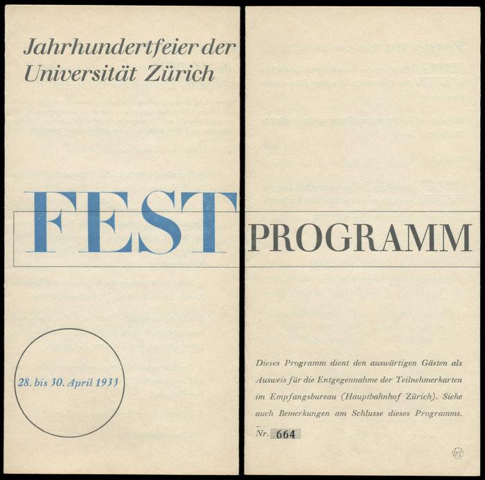 Festprogramm Jahrhundertfeier der Universität Zürich