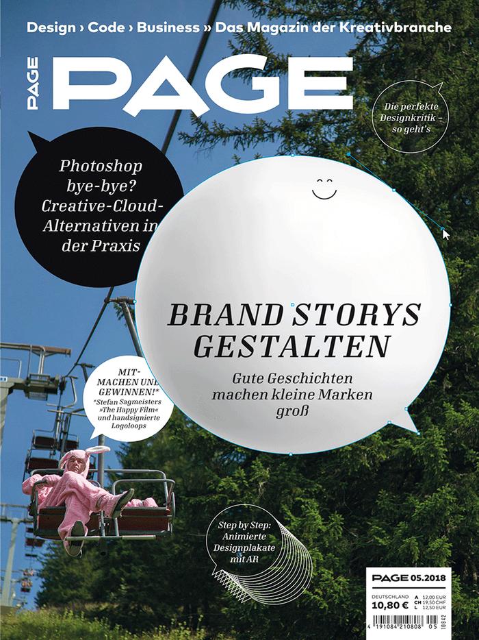 """PAGE 05.2018, """"Brand Storys gestalten"""" 1"""