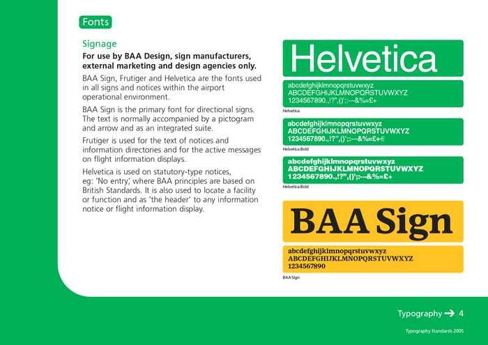 Page from BAA Typography Standard, 2005.