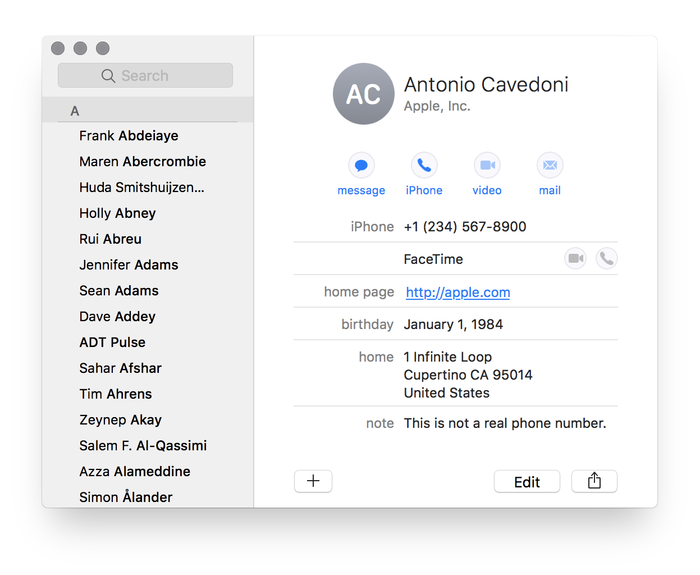 Apple Contacts app (macOS Sierra and iOS 10)