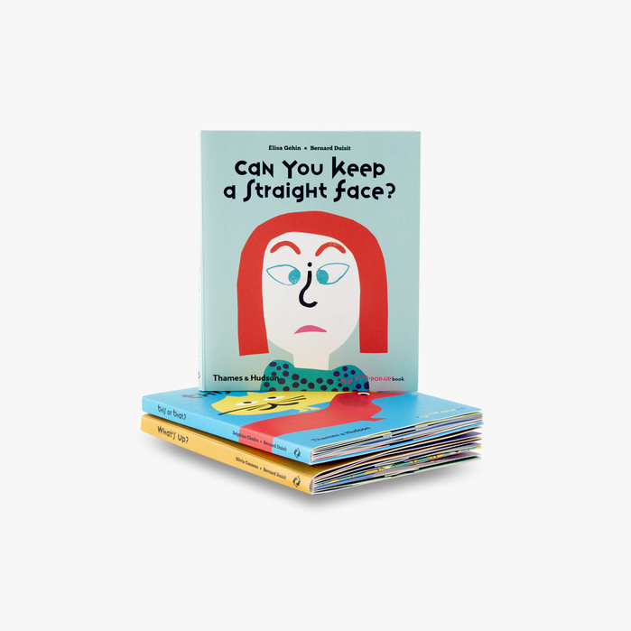 Cover for Can you keep a straight face, with a modified 'g' in the title, and a question mark, repurposed as nose. Illustrated by Élisa Géhin. Published january 2017.