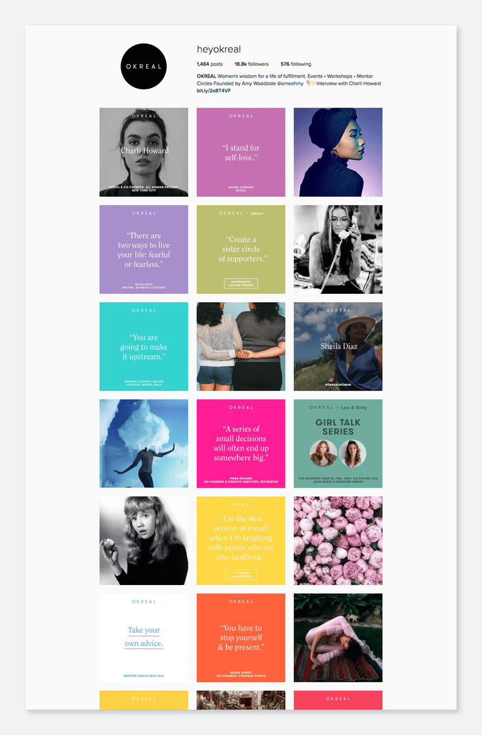 An important part of OKREAL is the well curated Instagram feed. With a combination of inspirational images, quotes and wisdoms—all set in the same type system within a colorful tile—it connects strongly to the website and it's vibe.
