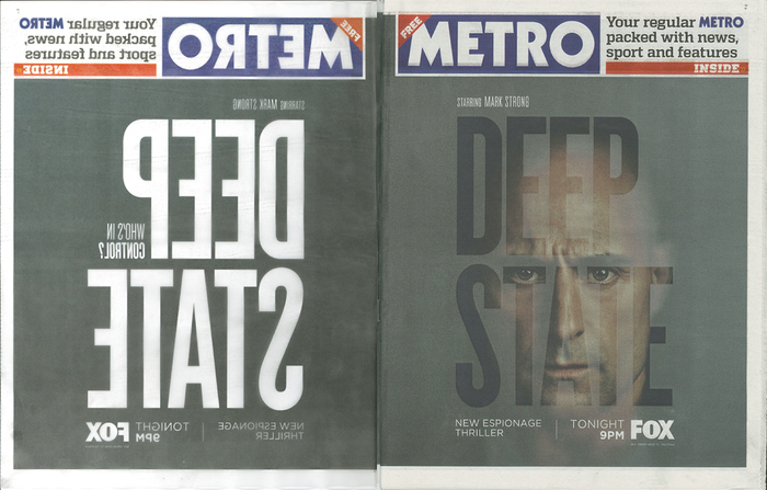 Launch campaign — Tracing overlay and front cover of Metro newspaper, London