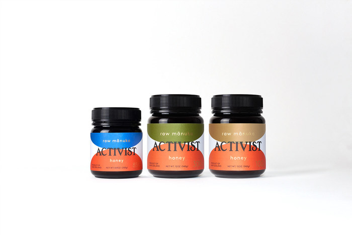 The Activist family of raw mānuka honey. The colours (in combination with numbers) indicate the potency of the raw ingredient.