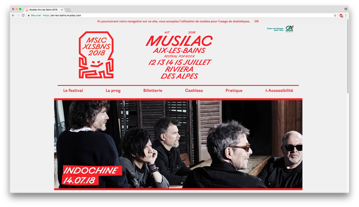 Aix-Les-Bains Musilac website, also with Ostia Antica Regular as extra web font for smaller text – also used as a faux bold weight.
