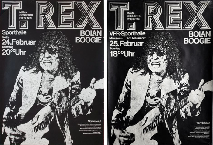 T. Rex at Sporthalle Köln and VFR-Sporthalle Mannheim, February 24 and 25, 1973