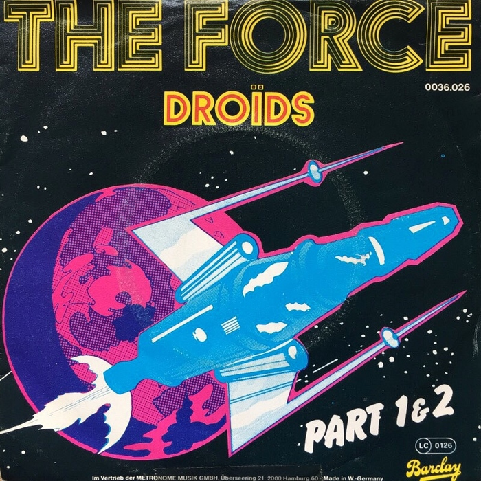 """The Force"" (Part 1 & 2) — German sleeve featuring Stack (incl. a simplified inline variant for the band name) and Flash Bold."