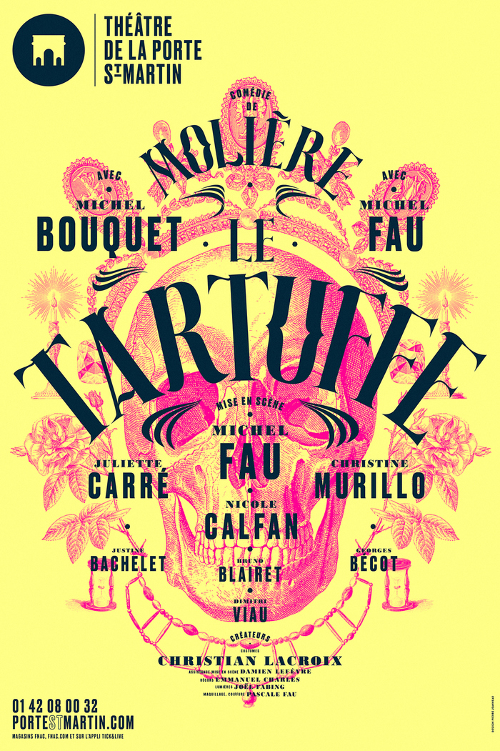 Le Tartuffe — Bodoni MT Black and Druk. The letterforms used for the title are custom drawn.